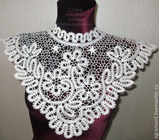 Купить Оплечье 3 цветка Вологодское кружево - накидка, ажурная накидка, свадебная накидка