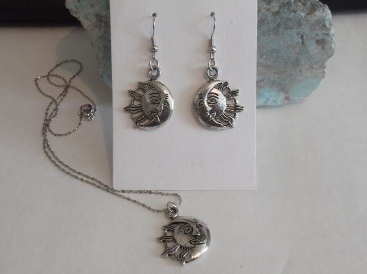 Celestial Moon/Sun Pendant Necklace and Earring Set by HealingAuras on Etsy