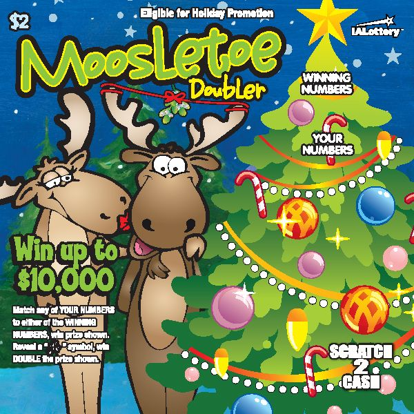 Moosletoe Doubler launched at Iowa Lottery retailers Oct. 31, 2016. The $2 game offers top prizes of $10,000! This game is eligible for the #JingleBills holiday Play It Again promotion.