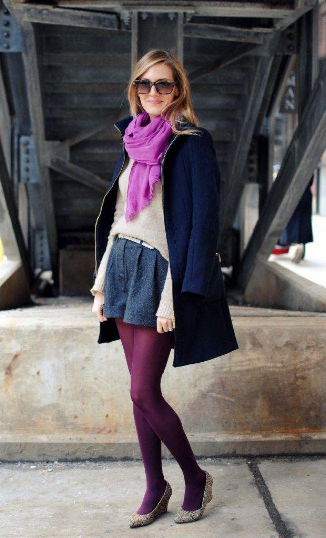 Moda outono/inverno - Como usar meia-calça roxa