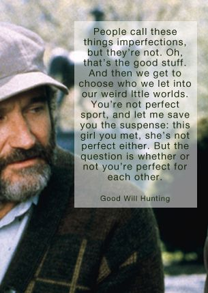 """People call these things imperfections, but they're not. Oh, that's the good stuff"" -Robin Williams as Sean Maguire, Good Will Hunting (1997)"