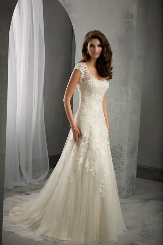 Graceful Cap Sleeve Scoop Neck Ivory White Lace Tulle Wedding Dress ...