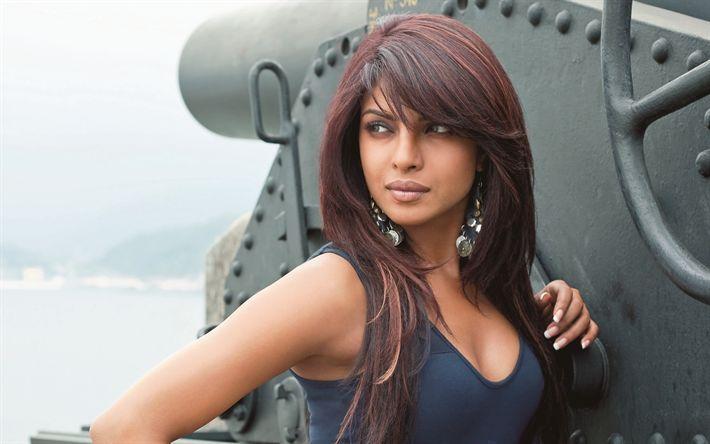 Lataa kuva Priyanka Chopra, Intialainen näyttelijä, 4k, kaunis nainen, muotokuva, Intian muoti malli
