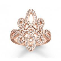 Glam & Soul 18ct Rose Gold Plated Pave Love Knot Ring TR1974-416-14