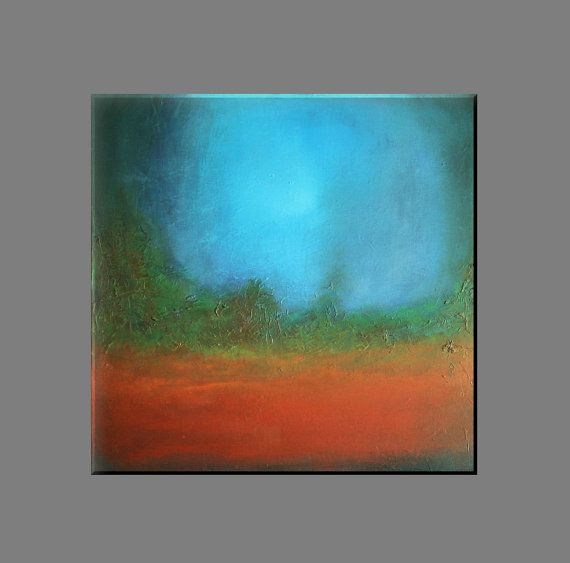 "FREE SHIPPING - Acrylic painting 70x70 cm, 28""x28"",abstract painting, original painting,moderm painting,canvas painting ,blue,green,orange"
