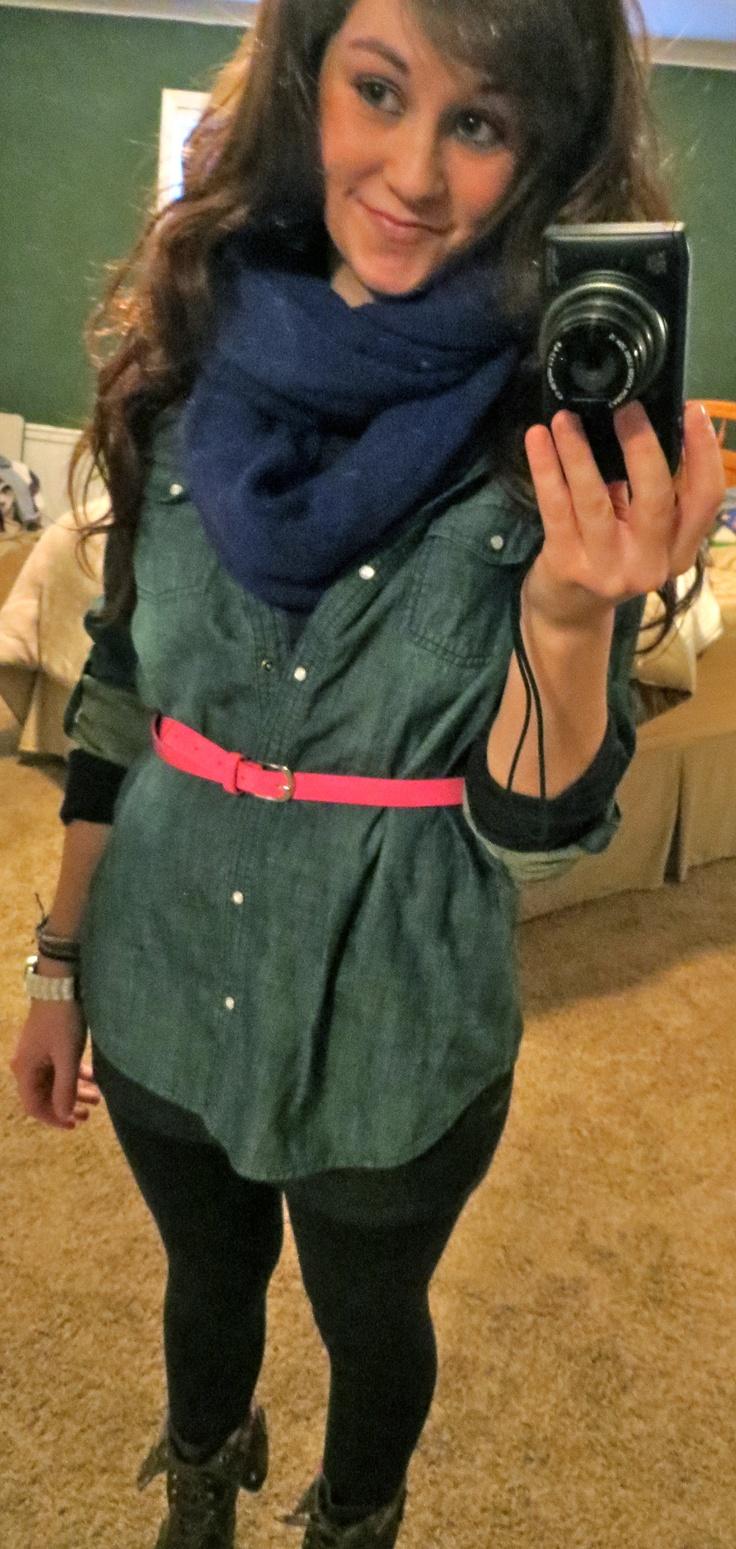 jean shirt, bright belt, infinity scarf