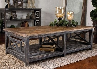 Rustic Reclaimed Fir Wood Coffee Table Spiro
