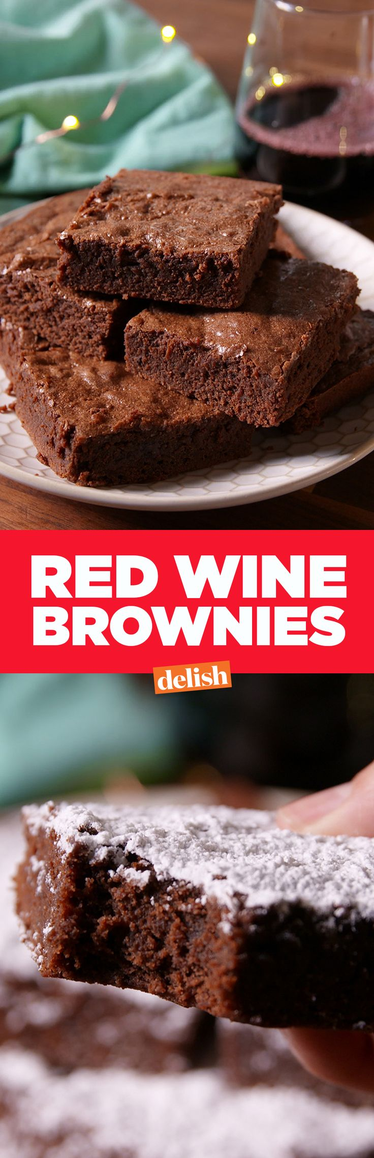Red Wine Brownies are the sweetest way to unwind. Get the recipe on Delish.com.