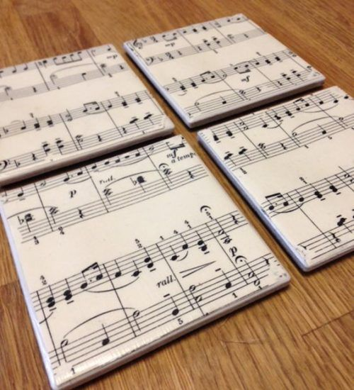 Musical Coasters Use extra tiles and old sheet music to create these musical coasters or accent pieces.