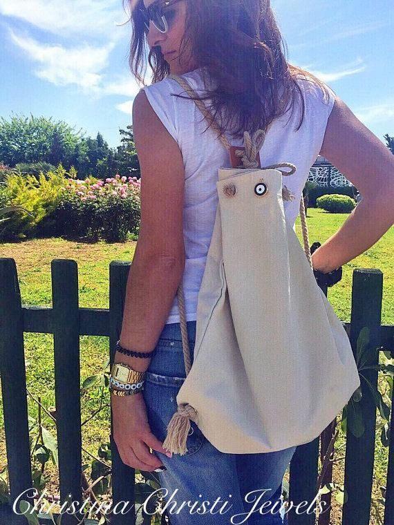 Ivory Canvas Backpack Women, Canvas Rucksack, Beach Bag, Summer Bag, Made In Greece.