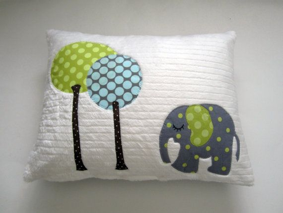 A Sleepy Little Elephant Pillow by gigglesandtoots on Etsy, $35.00