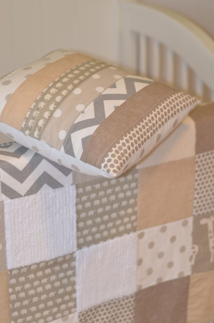 Baby Blanket Neutral Patchwork Baby Blanket / Quilt - Cotton and Organic Cotton Mix Fabrics-Chevron, Elephant, Giraffe. $98.00, via Etsy.