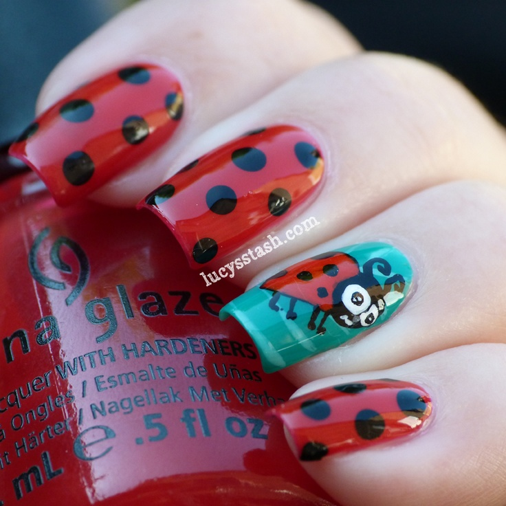 Ladybird/Ladybug Nail Art Manicure With Tutorial