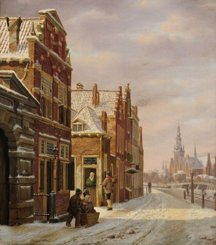 Bartholomeus Johannes van Hove - Winters stadsgezicht met huizen en bevroren kanaal