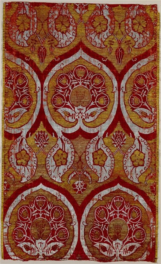 16th  Century velvet panel • ottoman turkish • silk and metal thread