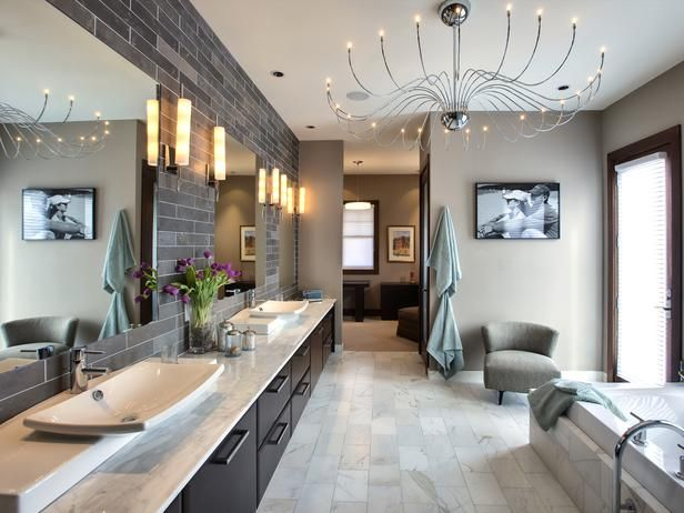Designer Tina Muller puts the finishing touch on this spacious, streamlined master bathroom with a show-stopping chandelier. 24 sleek chrome branches end in a low-voltage LED bulb to provide plenty of light while using less energy than standard incandescent or even CFL bulbs.: Bathroom Design, Idea, Lights Fixtures, Color, Interiors Design, Dreams Bathroom, Sinks, Wall Tile, Master Bathroom