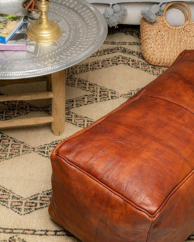 Rectangular Pouf Moroccan Leather Pouf Ottoman Leather Pouf