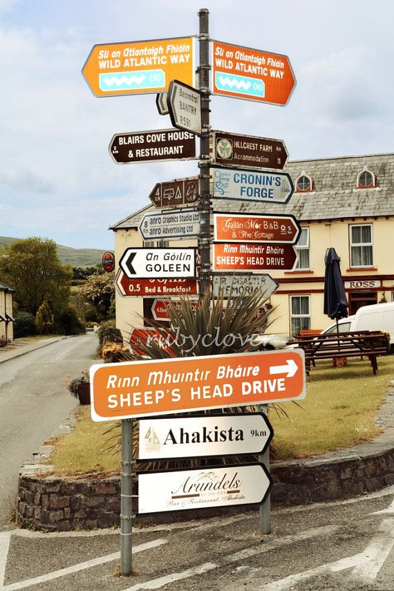 Crazy Irish Road Signs Durrus Co. CORK IRELAND photo by rubyclover (Art & Collectibles, Photography, Color, ireland sign, irish sign, crazy road sign, funny road sign, funny ireland, funny irish, irish gift, ireland photography, pub sign, cronin, ahakista, ireland town, county cork)