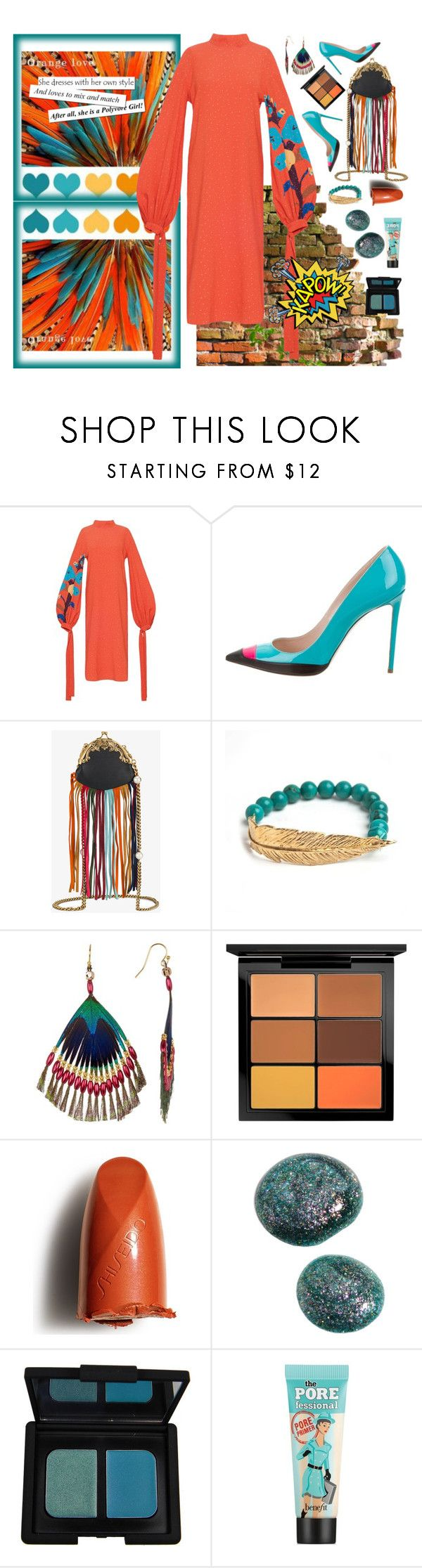 """""""Untitled #2242"""" by diananicoleparsons ❤ liked on Polyvore featuring WALL, Ruthie Davis, Gucci, LeiVanKash, Taolei, MAC Cosmetics, Shiseido, NARS Cosmetics and Benefit"""