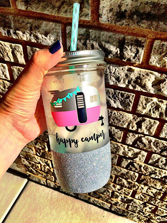 Happy Camper Mason Jar, Glamping Tumbler,Glitter Tumbler, Happy Camper, Custom Mason Jar, Glitter Mason Jar, Happy Glamper, Airstream