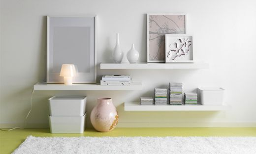 White Floating Shelves against grey wall                                                                                                                                                                                 More