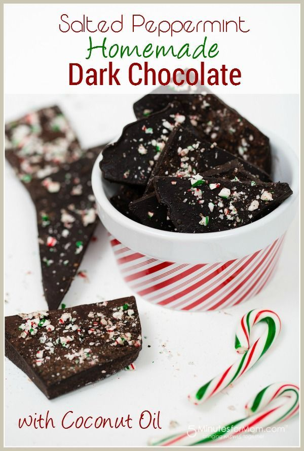 Salted Peppermint Homemade Chocolate -  Incredibly delicious, dark chocolate that you can make yourself. This recipe is super easy and you probably already have all the ingredients in your cupboards right now. Thanks to Wholesome Sweeteners for sponsoring this melt-in-your-mouth recipe and post.
