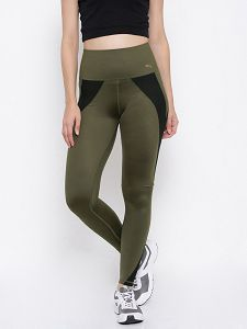 Cheap Puma Womens Tights - Puma Colourblocked PWRSHAPE Tights Olive Green & Black Tights Outlet Online Shop Bc226882