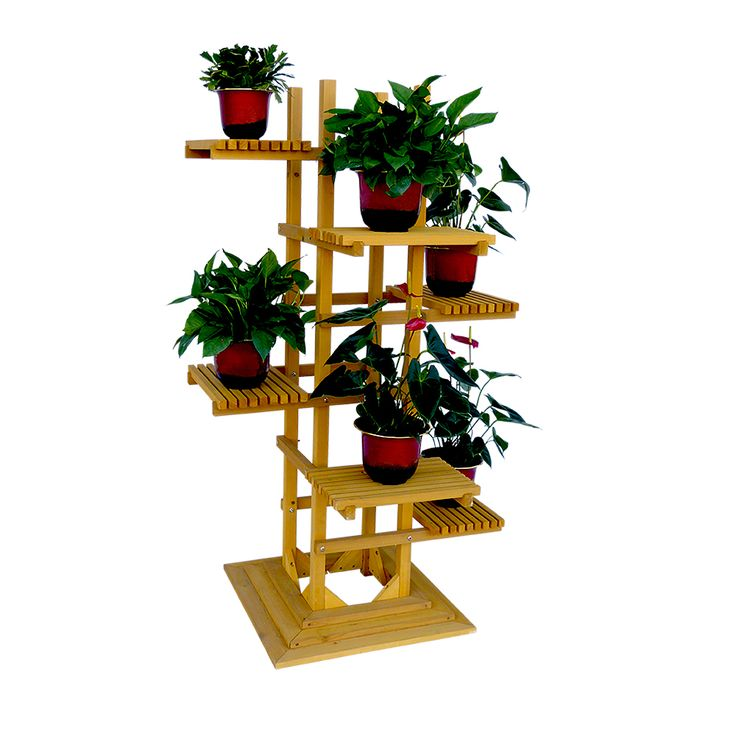 Bring on your large cactus or your favorite tall plant and set it on this 6-tier indoor, outdoor wooden pedestal plant stand. This 6-Tier Wooden Pedestal Plant stand holds big and small sized plants.