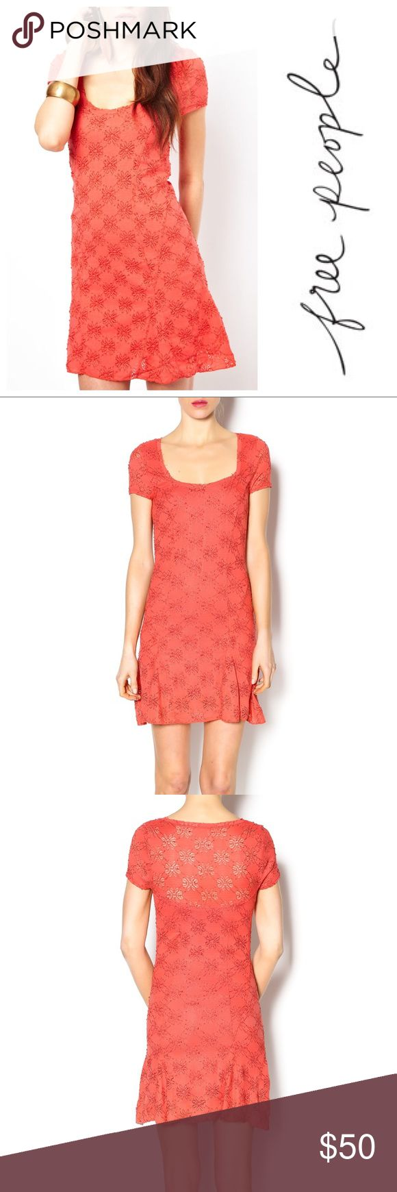 Free People Daisy Godet Dress in Burnt Orange Dressy Free People Daisy Godet Dress in Burnt Orange!  🍁 Size M 🍁 cute daisy embroidered detailing throughout 🍁 low scoop neck 🍁 cute cap sleeves 🍁 lined except for in the top back & shoulder for a Lacey effect 🍁 cute flaring at the hem to flatter your shape 🍁 soft & heavy material 🍁 perfect summer dress!  Materials  97% Nylon  3% Spandex Free People Dresses