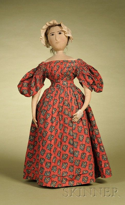 Folk Art Cloth Lady, 19th century, cloth head and shoulders with hand-embroidered features, applied nose, human hair wig, all-cloth body with narrow waist and long legs, wearing printed cotton dress with white cotton undergarments, ht. 25 in.