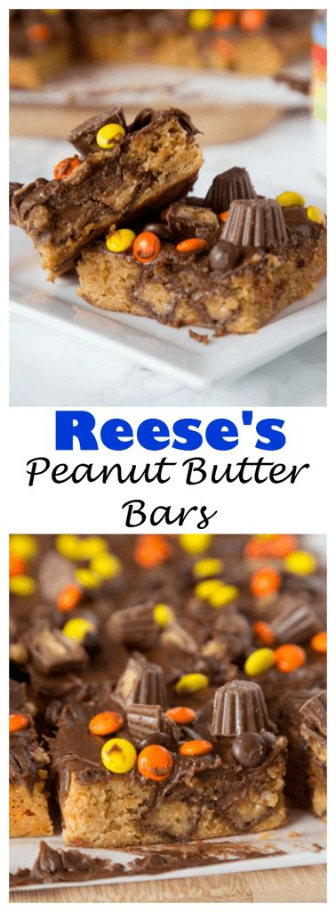 Reese's Peanut Butter Bars - a thick and chewy peanut butter brownie filled with peanut butter cups, topped with chocolate frosting, reese's pieces and more peanut butter cups! A peanut butter lover's dream!