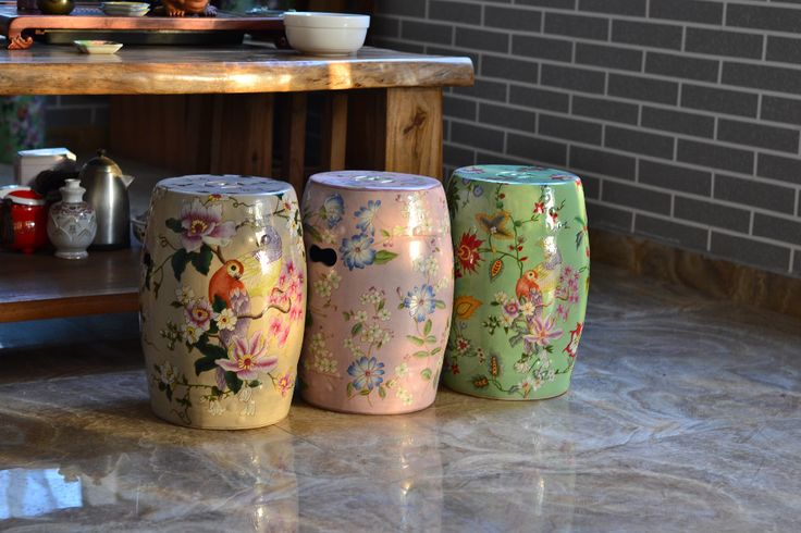 Painting Indoor Chinese Ceramic Stool Home Decoration Bird Stool Colored Glazed Porcelain Drum Stool