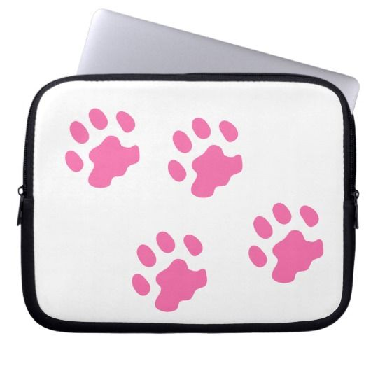 #zazzle #Pink #Paws  #Neoprene #Laptop #Sleeve #10 inch #office #home #travel #gift #giftidea