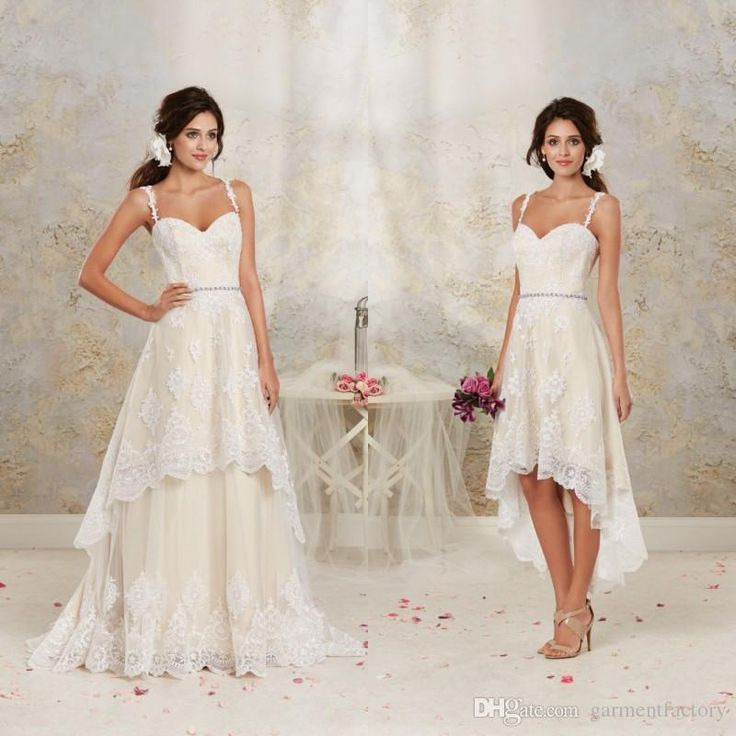 Brides Wedding Dresses Gorgeous Detachable Skirt 2017 Spaghetti Straps A Line High Low Two