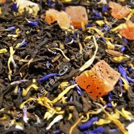 Pu-Erh Mango Maracuyá » Té rojo pu-erh, maracuyá, mango, papaya y pétalos de flores.