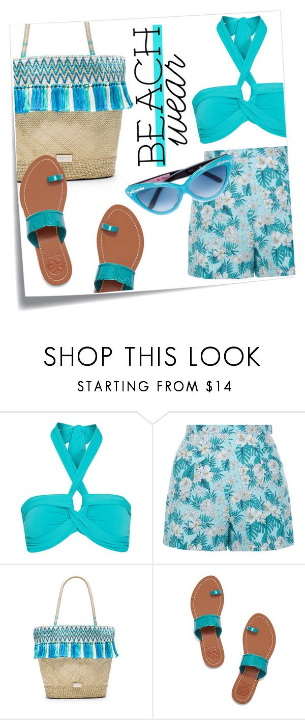 """""""spring/summer 2016 outfit #21"""" by tobeglam ❤ liked on Polyvore featuring Post-It, Seafolly, New Look, Caffé, Tory Burch, Olympia Le-Tan, Summer and beach"""