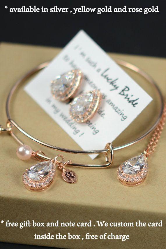 Rose gold  drop earrings posts  studs  by thefabbridaljewelry
