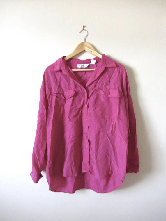 80s Vintage Silk Magenta Blouse