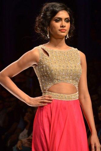 Cut out gold and salmon. anarkali.  Indian Bridal Fashion Week 2013 Collection by Jyotsna Tiwari