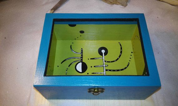 Decoration wooden box Blue box Brother's gift by Zozelarium