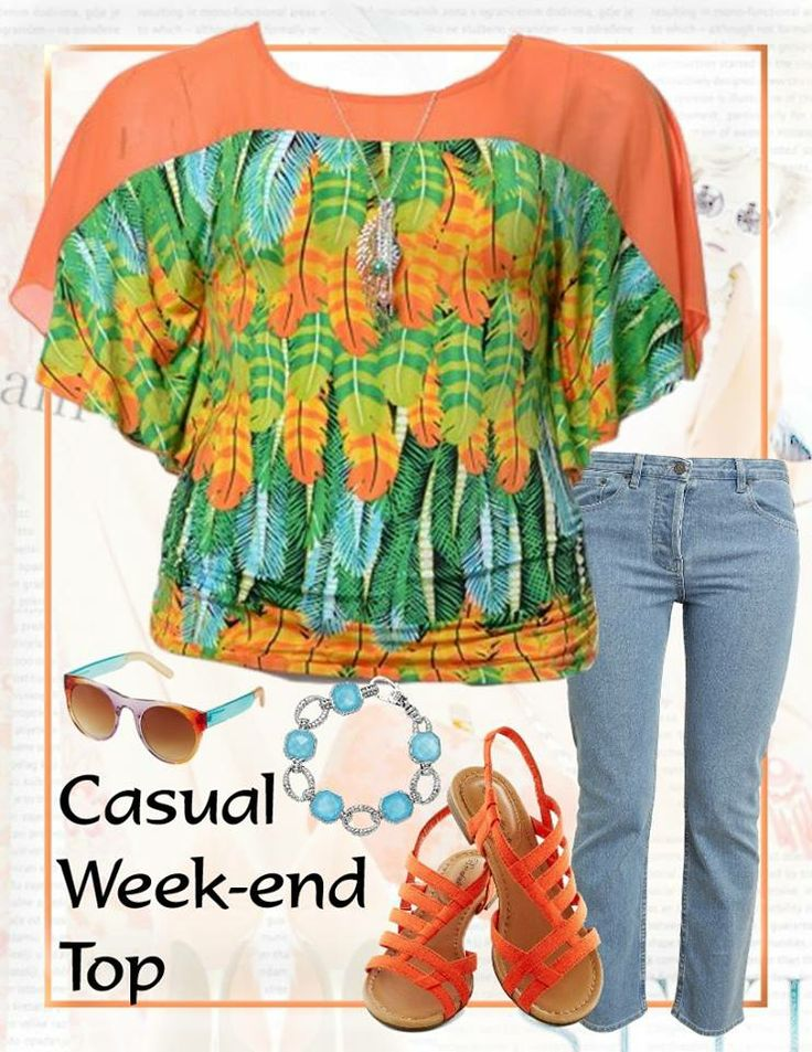Liven up your look with this stunning feather print silky stretch top - a perfectly colourful top for a dressy day day out with friends. Wear with lighter colour jeans and strappy sandals.  Available in Plus Size 14 and 18 from http://www.citystylechic.com.au/plus-sizesfeather-print-top-with-necklace