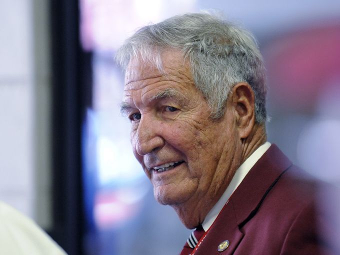 Former Alabama head coach Gene Stallings greets fans before the Alabama Florida game at Bryant Denny Stadium in Tuscaloosa, Ala. on Saturday September 20,  2014.