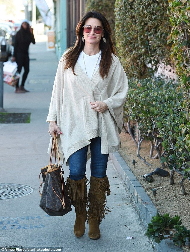 Laid back: Kyle Richards looked cool and casual for her day out in LA on Wednesday...