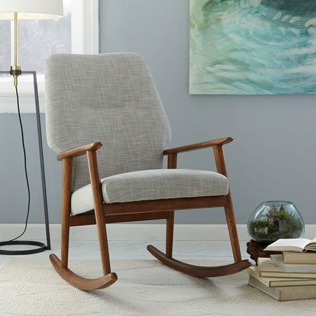 Midcentury-style high back rocking chair at West Elm