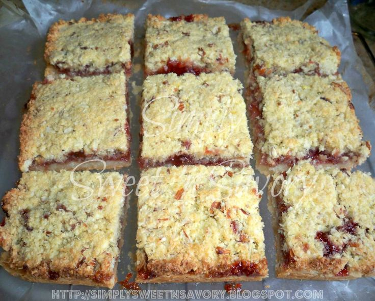 strawberry almond and coconut slice - goes with meatball pitas very well