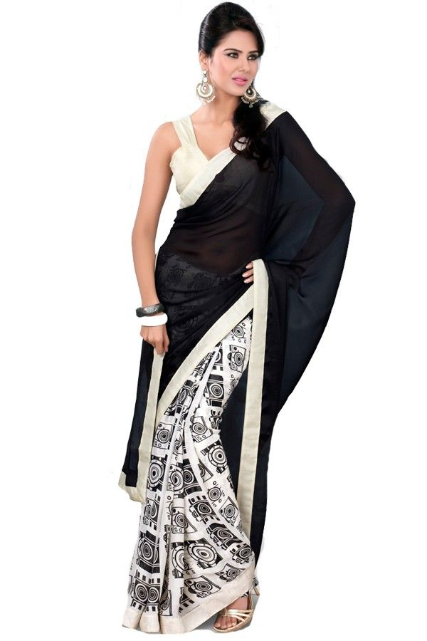 Black and White Designer Printed Saree with Blouse Fabric - Satin Color - Balck,White http://valehri.com/sarees/596-black-and-white-designer-printed-saree-with-blouse.html