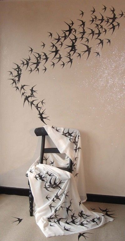 Migrating swallows - Design Inspiration. Planet Stencil Library.