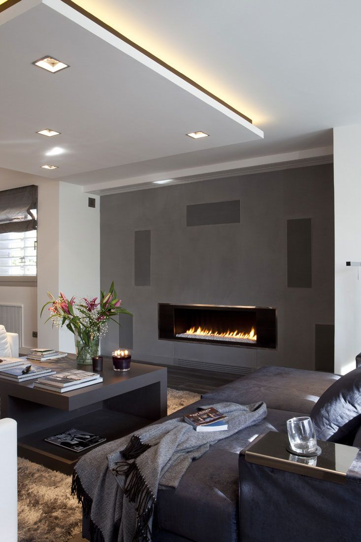 Love the fireplace and combo of grey, beige, black and white!                                                                                                                                                                                 More