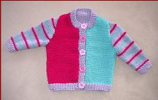 Knit this cute three colour cardigan. Pattern includes sizes 0 to 12 months.