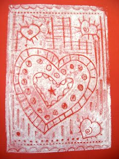 Here are some Valentine's Day prints I made out of a styrofoam printing plate. You can use those styrofoam meat plates or, like I did, orde...